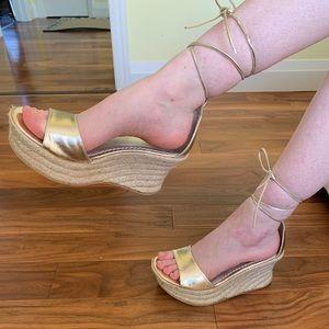 Gold leather platform tie up espadrille wedges 10